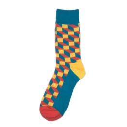 kék-sárga térhatású zokni