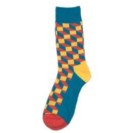 sárga-kék térhatású zokni