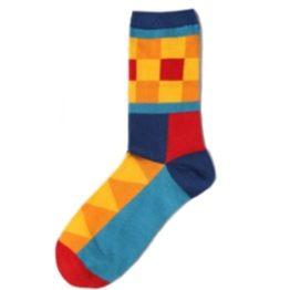 kockás zokni (sárga-kék)