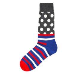 kék csíkos-pöttyös zokni