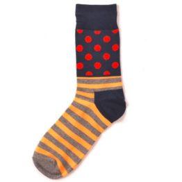 narancssárga csíkos-pöttyös zokni