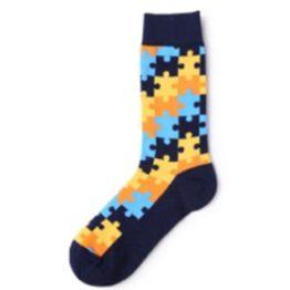 puzzle mintás zokni (kék)