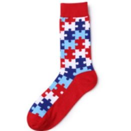 puzzle mintás zokni (piros)