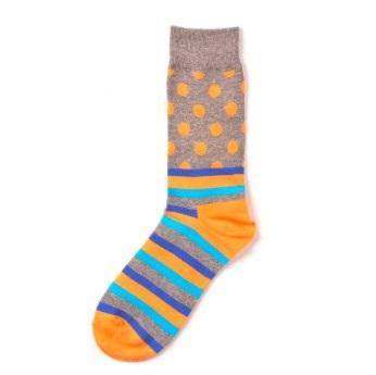 sárga csíkos-pöttyös zokni